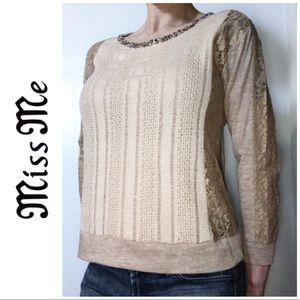 Miss Me Tan Gold Studded Lace Sweater Blouse Small